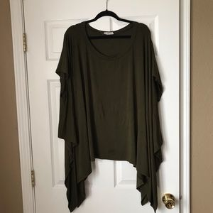 Olive short sleeve asymmetrical draping top